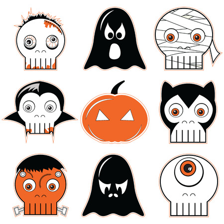 Halloween  icons set 3 including scary, spooky ghosts and pumpkin, , mummy, cyclops, vampire, Monster, zombie and werewolf in black white and orange