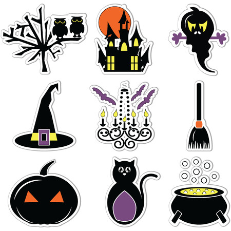 flying hat: Halloween icons colour labels including owl,spooky tree, pumpkin, hunted castle ruins  full moon, chandelier with candles  flying bats, witch hat with buckle, scary cat, boiler and broom Illustration
