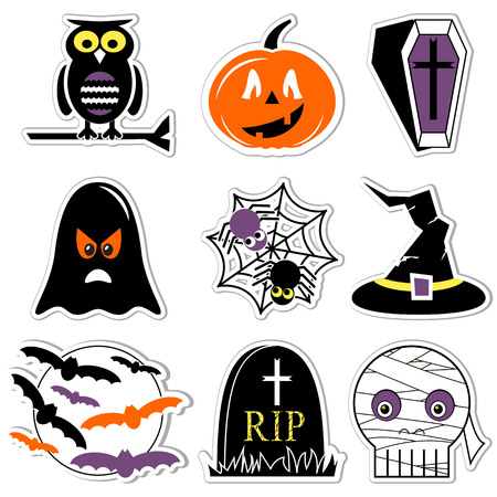 Halloween icons set in color, labels style  including owl, pumpkin, coffin with cross,  ghost, spider on spider web, witch hat with buckle, moon with flying bats,  tomb RIP, and mummy skull