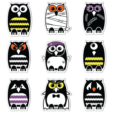 cyclops: Halloween scary, spooky, mummy, cyclops, vampire. Monster, zombie owls in color in label style