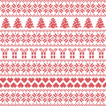Scandinavian style, Nordic winter sweater stitch, knit pattern including star, Xmas tree, Xmas gift, heart element in red on white background in seamless style Vectores