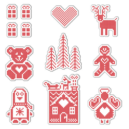 teddy bear christmas: Scandinavian style Nordic winter red switch , knitting pattern including gingerbread house, christmas gifts, christmas trees, penguin, angel, reindeer, teddy bear, heart icon set