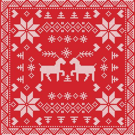 reno: estilo escandinavo puntada invierno n�rdico, sin fisuras patr�n de tejer en forma cuadrada, incluyendo baldosas de copos de nieve, �rboles de Navidad, copos de nieve, corazones, renos, elementos decorativos sobre fondo rojo