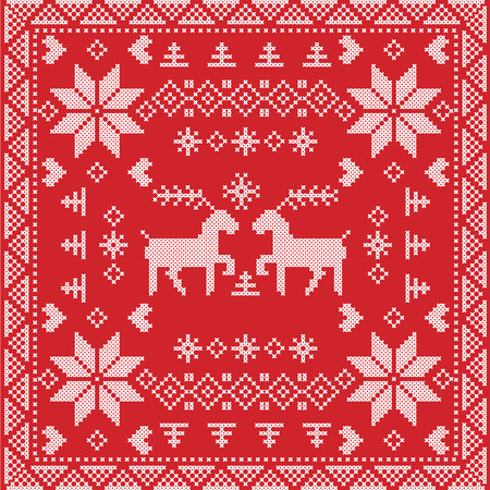 reindeer: Scandinavian style Nordic winter stitch, knitting seamless pattern in  square, tile  shape including snowflakes, trees, Christmas snowflakes, hearts, reindeer, decorative elements on red background