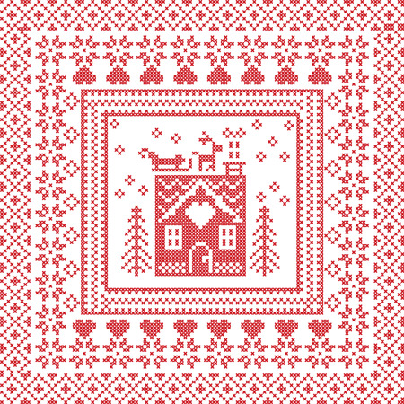 Scandinavian Nordic winter stitch, knitting  pattern in  square, tile  shape including snowflakes, trees, gingerbread houses, hearts, reindeer, santas sleigh, decorative elements on red background