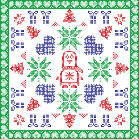 red cross red bird: Scandinavian Nordic winter cross stitch, knitting  Christmas pattern in  square, tile  shape including snowflakes, stars, Christmas gifts, Christmas trees, penguin,  and  in colour Illustration