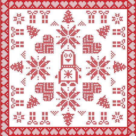 red cross red bird: Scandinavian Nordic winter cross stitch, knitting  Christmas pattern in red