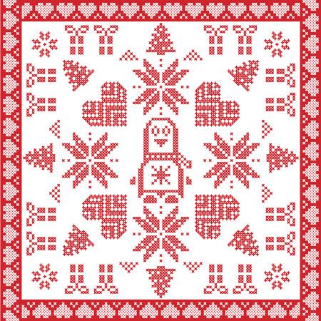 christmas cross: Scandinavian Nordic winter cross stitch, knitting  Christmas pattern in red