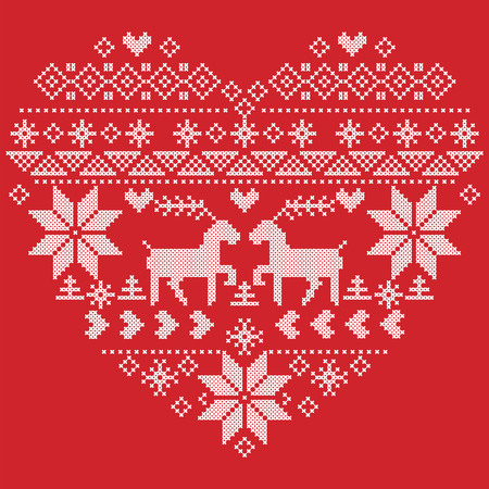 christmas snowflakes: Scandinavian Nordic winter stitch, knitting christmas  pattern in  in heart shape shape including snowflakes, christmas trees,reindeer, snow, stars, decorative elements on  red  background