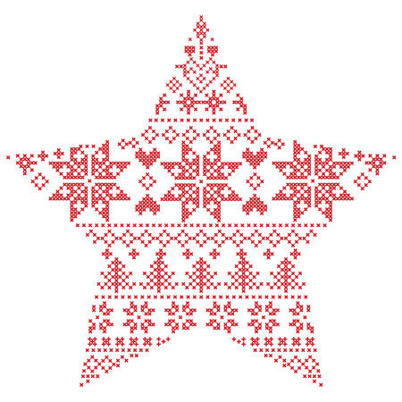 Scandinavian Nordic winter stitch, knitting  christmas pattern in  in star  shape shape including snowflakes, xmas trees, snow, stars, decorative elements, ornaments  on white background Иллюстрация