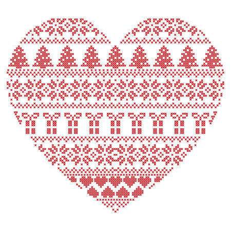 Scandinavian Nordic winter stitch, knitting  christmas pattern in  in heart shape shape including snowflakes, xmas trees,reindeer, snow, stars, decorative elements, ornaments  on white background Vettoriali