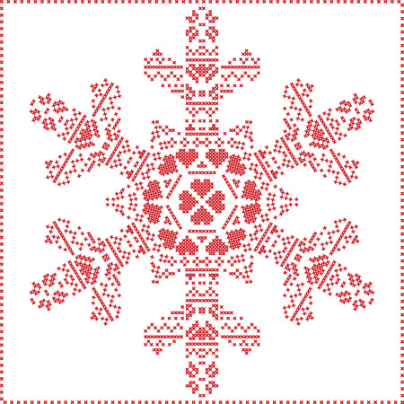 stitching: Scandinavian Nordic winter cross stitching, knitting  christmas pattern in  in  snowflake shape , with cross stitch frame including , snow, hearts, stars, decorative elements in red on white   background