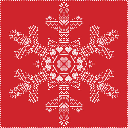 stitching: Scandinavian Nordic winter cross stitching, knitting  christmas pattern in  in  snowflake shape , with cross stitch frame including , snow, hearts, stars, decorative elements in white on red  background