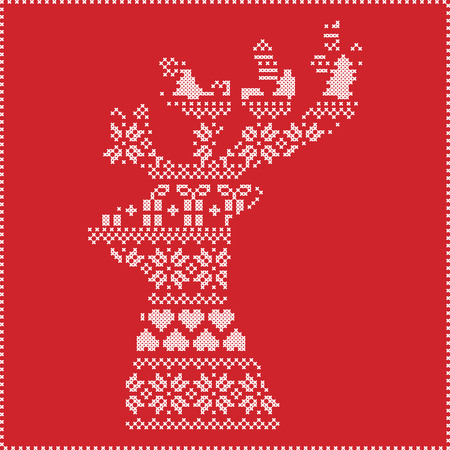 stitching: Scandinavian Nordic winter stitching , knitting  christmas pattern in  in reindeer shape shape including snowflakes, hearts,  xmas trees, christmas presents, snow, stars, decorative elements, ornaments on red background