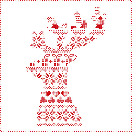stitching: Scandinavian Nordic winter stitching , knitting  christmas pattern in  in reindeer shape shape including snowflakes, hearts,  xmas trees, christmas presents, snow, stars, decorative elements, ornaments on white background Illustration