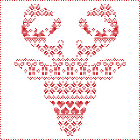 stitching: Scandinavian Nordic winter stitching  knitting  christmas pattern in  in reindeer head  shape frontal including snowflakes,hearts xmas trees christmas presents,snow,stars,decorative ornaments  1
