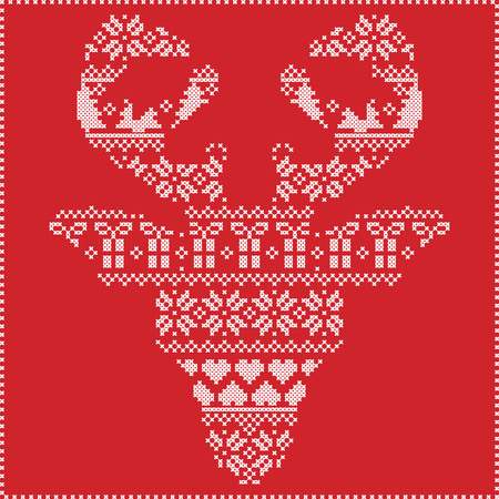 frontal: Scandinavian Nordic winter stitching  knitting  christmas pattern in  in reindeer head  shape frontal including snowflakes,hearts xmas trees christmas presents,snow,stars,decorative ornaments  2 Illustration