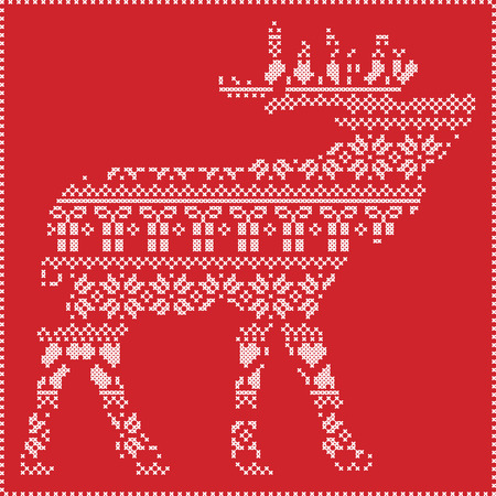 stitching: Scandinavian Nordic winter stitching  knitting  christmas pattern in  in reindeer body  shape  including snowflakes, hearts xmas trees christmas presents, snow, stars, decorative ornaments  on red background