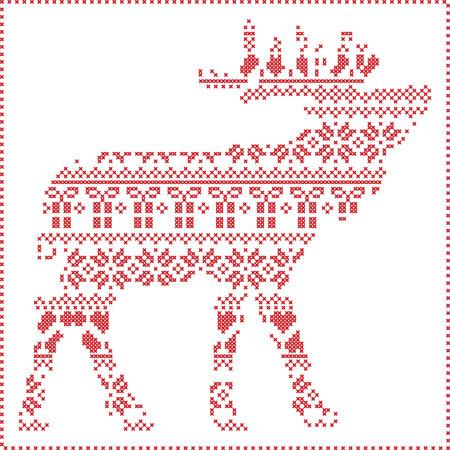 Scandinavian Nordic Winter Nähen Stricken Weihnachten Muster In ...