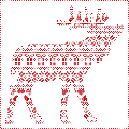 stitching: Scandinavian Nordic winter stitching  knitting  christmas pattern in  in reindeer body  shape  including snowflakes, hearts xmas trees christmas presents, snow, stars, decorative ornaments  in white Illustration