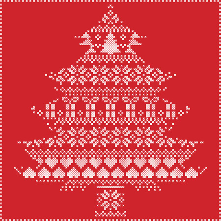 stitching: Scandinavian Nordic winter stitching  knitting  christmas pattern in  in christmas tree  shape  including snowflakes, hearts xmas trees christmas presents, snow, stars, decorative ornaments on  red