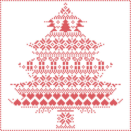 stitching: Scandinavian Nordic winter stitching  knitting  christmas pattern in  in christmas tree  shape  including snowflakes, hearts xmas trees christmas presents, snow, stars, decorative ornaments on  white Illustration