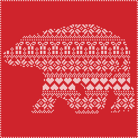 Scandinavian Nordic winter stitching  knitting  christmas pattern in  in polar bear   shape  including snowflakes, hearts xmas trees christmas presents, snow, stars, decorative ornaments on  red background