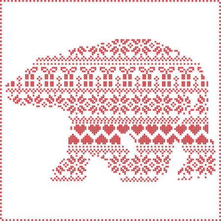 stitching: Scandinavian Nordic winter stitching  knitting  christmas pattern in  in polar bear   shape  including snowflakes, hearts xmas trees christmas presents, snow, stars, decorative ornaments on white background