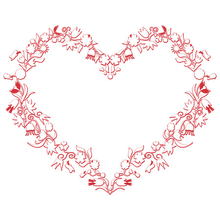 folk culture: Valentines day Love Heart Shape with 3d  drawing effect including flowers and bees in white with red stroke inspired by the european folk culture