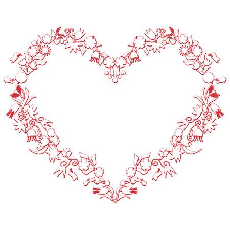 Valentinstag-Liebes-Herz-Form mit 3d effekt einschließlich Blumen und Bienen in weiß mit roten Strich durch die europäischen Volkskultur inspiriert
