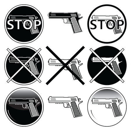 Stop selling, use and illegal, underage use of guns icons sets in black and white with button element