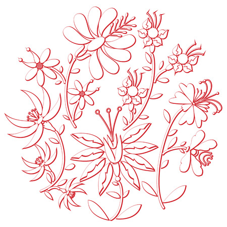 european culture: Celebration day folk  and embroidery  cutout  inspired  by eastern European culture   round shape in white with floral elements with red stroke with 3D effect