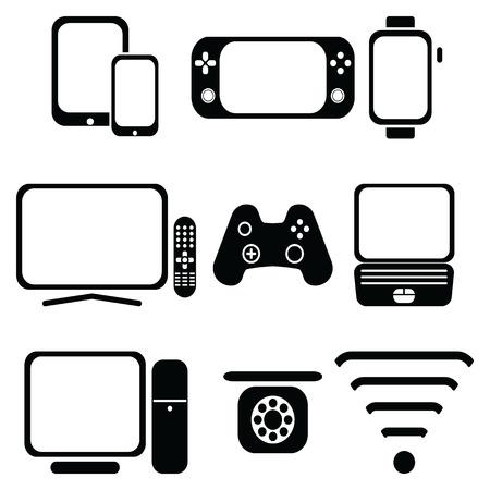 ip: Technology icons set Illustration