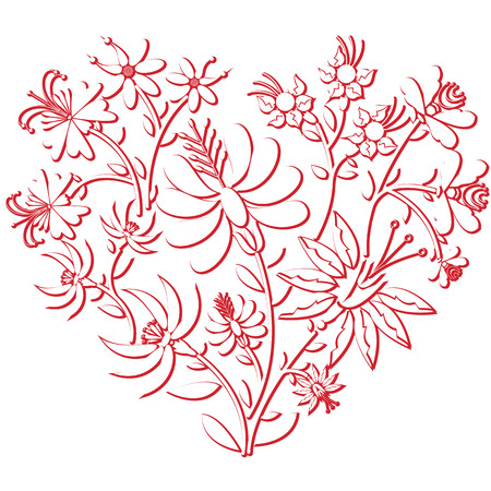 european culture: Celebration folk floral embroidery cutout  pattern in heart shape  3d version in white and red with shadow effect inspired by Eastern European culture
