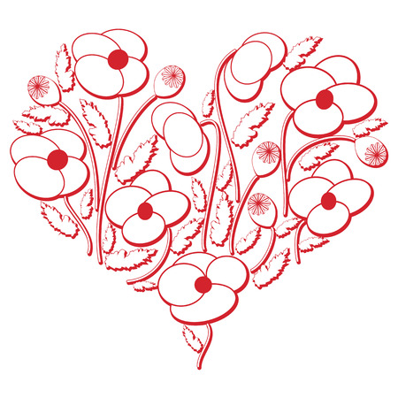 european culture: Celebration folk floral embroidery cutout  pattern in heart shape  3d version in white and red with shadow effect inspired by Eastern European culture  with poppy flowers symbol of 2 world war