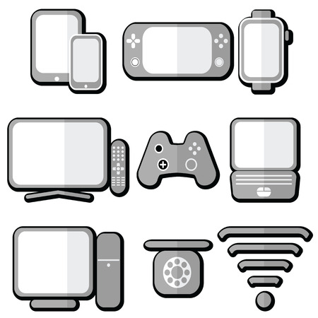 ip address: Technology icons set with tablet, mobile phone, smart watch , game console, smart tv, players joystick for game console,  laptop , PC, Internet and  network  signal strength and accessibility in 3d