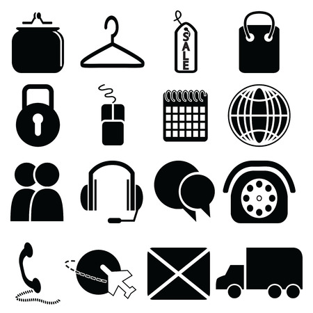 collect: On line Shopping icons: purse, bag, sale label, security padlock, mouse, click and collect, world wide delivery, globe,  car, email, plane, telephone, chat, messenger, head set microphone, calendar Illustration