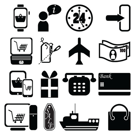 price cut: Shopping icons bag, sale label, plane, shipping, checkout, pc tablet mobile, laptop, 24 delivery, world wide delivery credit cash payment, gift, price cut, sale label,  ship, plane, telephone Illustration