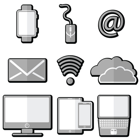 accessibility: Technology icons with  tablet, mobile phone, smart watch ,  ampersand, laptop, electronic mail, cloud storage , cloud computing, network and signal strength, network accessibility 3D with shadow