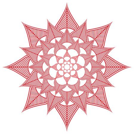 paz interior: cultura asiática inspirado casando maquillaje de henna decoración tatuaje en forma de flor hecha de hojas en la felicidad rojo y blanco que simboliza el amor y la vida espiritual, zen, paz interior