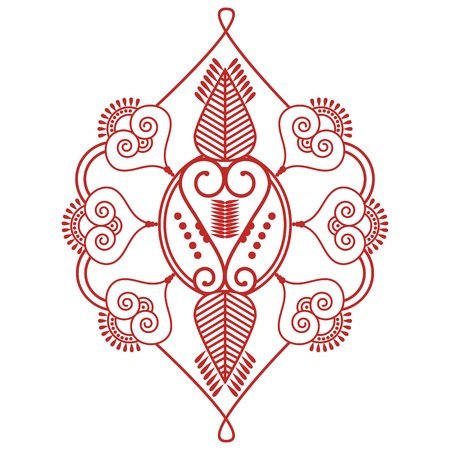 inner peace: Asian culture inspired  wedding makeup  henna tattoo decoration Two leaves shape floral decoration  made out of leaves in red and white symbolizing happiness, love and spiritual life , zen , inner peace