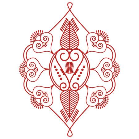 paz interior: inspirado en la cultura de la boda decoración de tatuajes de henna maquillaje asiático Dos forma de hojas de la decoración floral hecha de hojas en la felicidad rojo y blanco que simboliza el amor y la vida espiritual, zen, paz interior Vectores