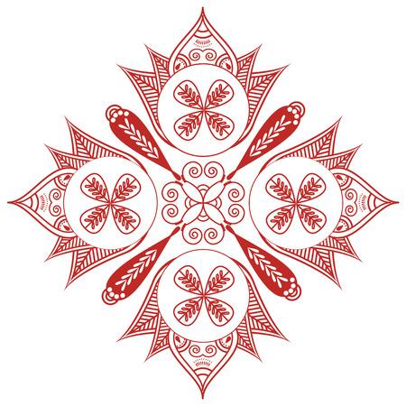 paz interior: cultura asi�tica inspirado casando la decoraci�n de tatuaje de henna maquillaje Forma con elementos diagonales ovales en blanco, la decoraci�n floral de color rojo que simboliza la felicidad, el amor y la vida espiritual, zen, paz interior