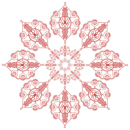 inner peace: Asian culture inspired  wedding makeup mandala henna tattoo decoration flower shape   in  red and white symbolizing happiness, love and spiritual life , zen , inner peace, freedom Illustration