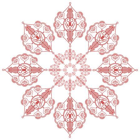 paz interior: cultura asi�tica inspirado casando la mandala de maquillaje tatuaje de henna forma de decoraci�n de flores en la felicidad rojo y blanco que simboliza el amor y la vida espiritual, zen, paz interior, la libertad Vectores