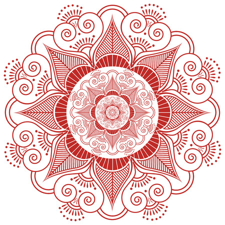 inner peace: Asian culture inspired  wedding makeup mandala henna tattoo decoration flower shape made out of leaves, hearts in  red and white symbolizing happiness, love and spiritual life , zen , inner peace Illustration
