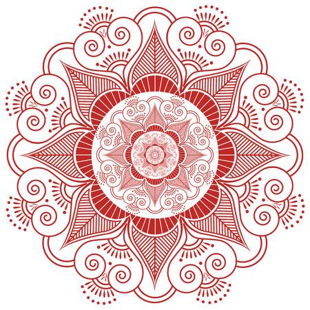 paz interior: cultura asiática inspirado casando la mandala de maquillaje tatuaje de henna forma de decoración de flores hechas de hojas, corazones en la felicidad rojo y blanco que simboliza el amor y la vida espiritual, zen, paz interior