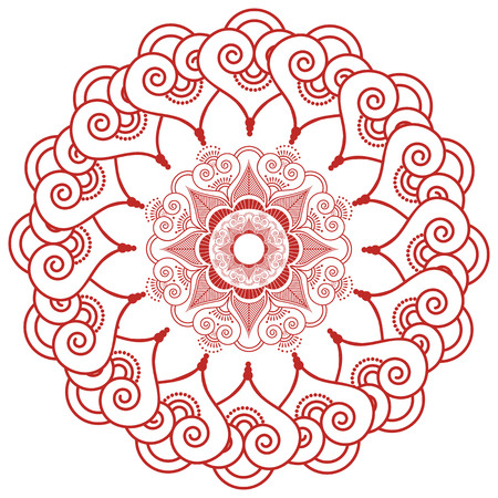 inner peace: Asian culture inspired  wedding makeup mandala henna tattoo lace decoration in flower shape made out of leaves, hearts in  red  symbolizing happiness, love and spiritual life , zen , inner peace