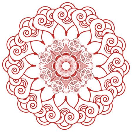 paz interior: La decoración del cordón de tatuajes de henna mandala de maquillaje inspirado casando la cultura asiática en forma de flor hecha de hojas, corazones en rojo que simboliza la felicidad, el amor y la vida espiritual, zen, paz interior