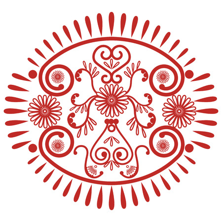inner peace: Asian culture inspired  wedding makeup mandala henna tattoo lace decoration in oval shape made out of leaves, hearts in  red  symbolizing happiness, love and spiritual life , zen , inner peace